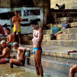 People taking the morning ritual bath in Varanasi — Stock Photo