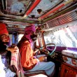 Indian Sikh drivers inside a local truck in India — Stock Photo