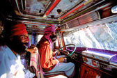 Indian Sikh drivers inside a local truck in India — Foto Stock