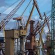 Industrial cranes in Gdansk shipyard — Stock Photo