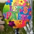 Vintage let's party sign hanging — Stock Photo