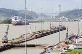 Gates and basin of Miraflores Locks Panama Canal — Foto Stock