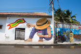 Graffiti in the old streets of Cartagena in Colombia — Stock Photo
