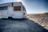 Vintage Trailer in Desert of Nevada — Stock Photo