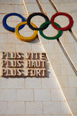 Olympic games sculpture — Stock Photo