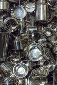 Art installation made of aluminum utensils cuisine — Foto Stock