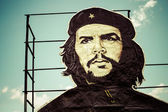 Che Guevara painting over building in Cuba — Stok fotoğraf