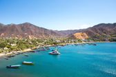 Taganga Bay with the traditional fishing boats — Foto de Stock