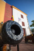 Close up of a canon in front of the Caribbean Naval Museum — Stock Photo