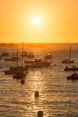 Sunset on the harbour of Tregastel  — Stock Photo