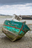 Shipwreck on a beach in Paimpol — Stock Photo