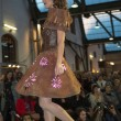 Model walking with chocolate dress during fashion show — Stock Photo #50948321