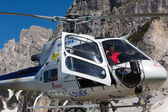 Mountain rescue helicopter in the italian Alps — Stock Photo