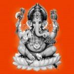 Ganesh black and white on orange background — Stock Photo #51146967