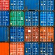 Four vertical rows of shipping containers — Stock Photo #51147381