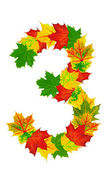 Autumn maple Leaves in the shape of number 3 — Stock Photo