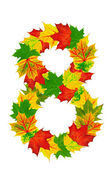 Autumn maple Leaves in the shape of number 8 — Foto Stock