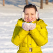 Girl holding snow — Stock Photo #18185279