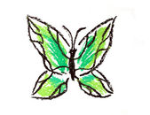 Green butterfly simple illustration — Stock Photo