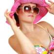 Ordinary woman in swimsuit and hat — Stockfoto