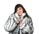 Silver grey fur coat — Stock Photo