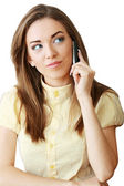 Mujer de negocios o estudiante con un móvil — Foto de Stock