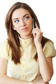 Podnikání žena nebo student s mobilním — Stock fotografie
