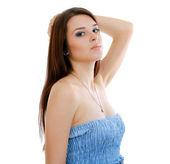 žena v modrých šatech funky — Stock fotografie