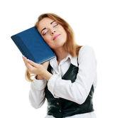 Woman loving book — Stock Photo