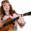 Hippie girl with the guitar — 图库照片