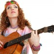 Beautiful Girl playing guitar - Stock Photo
