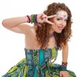 Stock Photo: Beautiful young hippie womin green dress