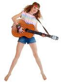 Mulher no salto de roupa hippie — Fotografia Stock