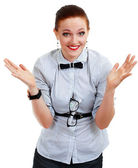 Young business woman or teacher shrug — Stock Photo