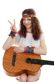 Beautiful woman holding guitar — Stock Photo
