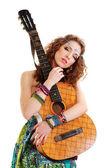 Beautiful Girl loving guitar — Stock Photo
