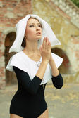 Sexy girl wearing a nun — Stock Photo