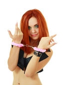 Woman in pink handcuffs — Stock Photo