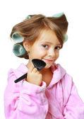 Vacker flicka med hår papiljotter — Stockfoto