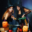 Two halloween witches — Stock Photo