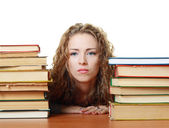 Student girl tired with studing — Stock Photo