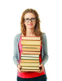 Woman in glasses holding books — Stock Photo