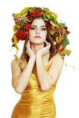 Brunette herfst vrouw — Stockfoto