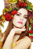 Morena mujer otoño — Foto de Stock