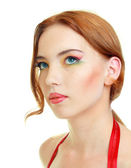 Fashion woman model with bright make-up — Stockfoto