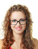 Young woman smiling eyeglasses — Stock Photo