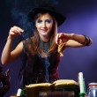 Witch on a dark background — Stock Photo