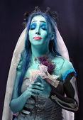 Corpse bride under blue moon light — Stock Photo