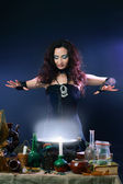 Witch making potion — Stock Photo