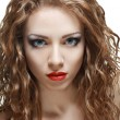Woman with natural curly hair — Stock Photo
